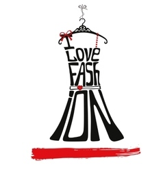 Woman dress silhouettei love faschionblackred vector