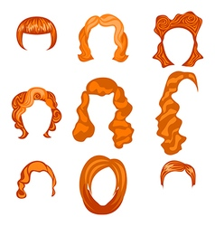 Set with different hairstyles redhead hand-drawn vector