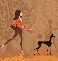 Fashion young woman and her dog are walking in the vector