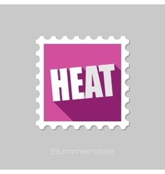 Heat flat stamp with long shadow vector