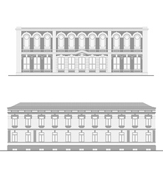 City street facades set vector