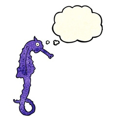 Cartoon sea horse with thought bubble vector