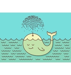 Postcard with cute careless whale baby swimming in vector