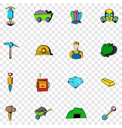 Mining set icons vector