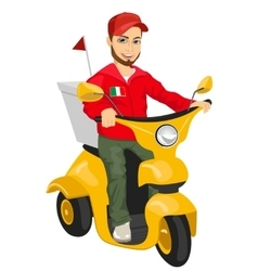 Pizza delivery man driving yellow scooter vector