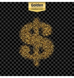 Gold glitter icon of dollar isolated on vector