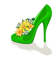 Flowers in a womens shoe vector