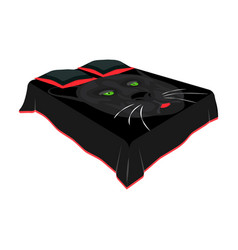 a bed with a black coverletbed with a black cat vector image