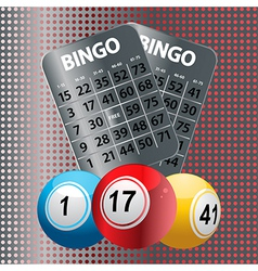 Bingo balls and metallic Bingo cards vector image vector image