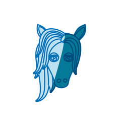 Blue silhouette of front face of female horse with vector
