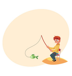 Boy fishing with a rod sitting on river pond bank vector