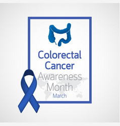Colorectal cancer awareness month icon vector