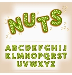 Comic cartoon candy with nuts style alphabet vector