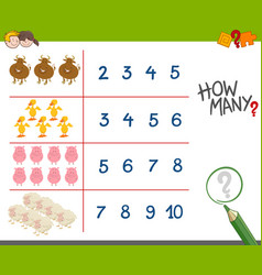 Counting activity with farm animals vector