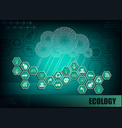 Dark green background with symbols of ecology vector