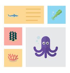 Flat icon sea set of shark tentacle alga and vector