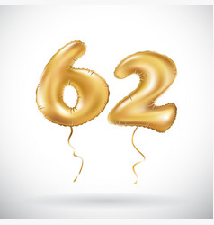 Golden number 62 sixty two metallic balloon party vector