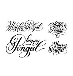 Happy pongal handwritten ink lettering set vector