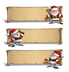 Happy santas papyrus announcing set vector