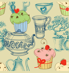 kitchen and food seamless pattern coffee and tea vector image