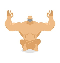 Muscled meditating bodybuilder on white background vector