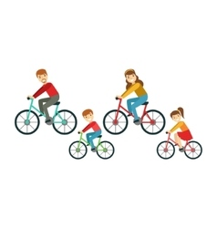 Parents and kids riding bicycles in park happy vector