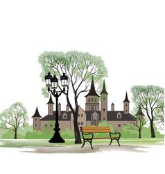 Park bench street lamp spring landscape castle vector
