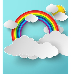 Rainbow on cloud vector