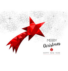 Red star ornament decoration for christmas card vector image