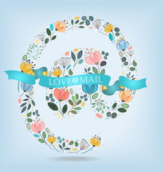 Romantic symbol at with flowers banner and text vector