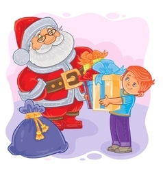 Santa Claus and little boy vector image vector image
