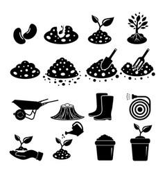soil icon set vector image