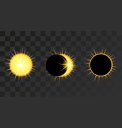Solar eclipse phases in dark sky vector