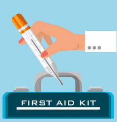 suitcase first aid kit with medical tools vector image