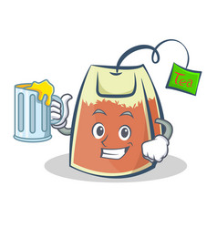 Tea bag character cartoon art with juice vector