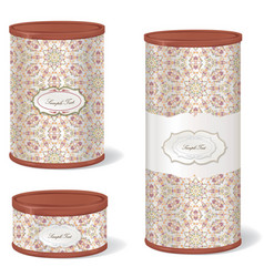 Vintage patterned box set metal tin can retro vector