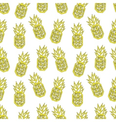 White and yellow geometric pineapple textile print vector image