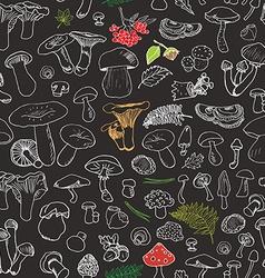 Mushroom hand drawn sketch seamless pattern vector