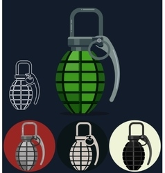 Hand grenade army manual weapon vector