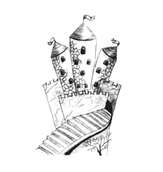 Sketch of fairy castle hand drawing with pencil vector