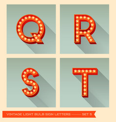 Vintage light bulb sign letters q r s t vector