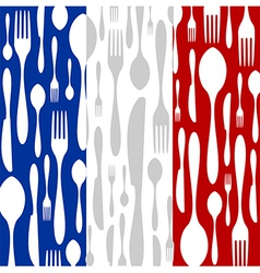 French cuisine cutlery pattern on the country flag vector