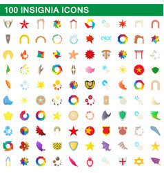 100 insignia icons set cartoon style vector image