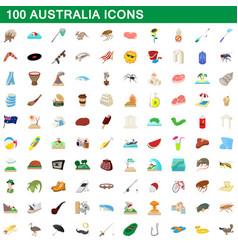 100 australia icons set cartoon style vector image