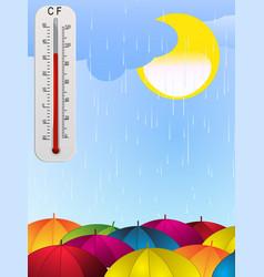 Sun rain umbrella and thermometer background vector