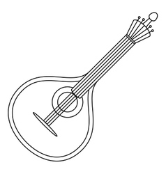 Musical instrument mandolin contour vector