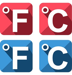 Celsius and fahrenheit symbol icon set vector