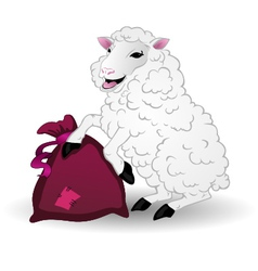 Sheep with a bag vector