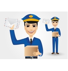 Postman holding envelopes and cardboard box vector
