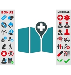 Medical map icon vector